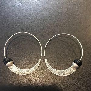Silpada Sterling Silver & Black Onyx Hoop Earrings
